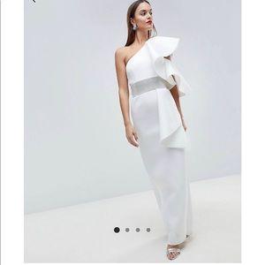 ASOS Edition Scuba one shoulder ruffle maxi dress